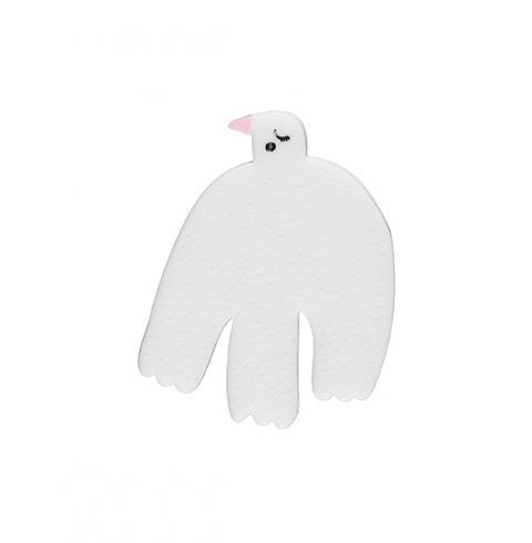White bird resin brooch