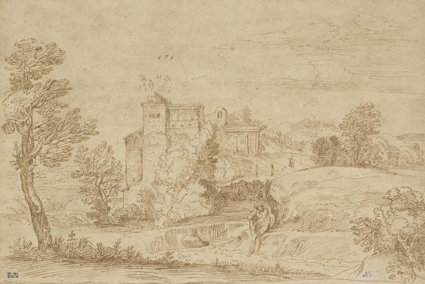 Landscape with Ruined Architecture and a Man Sitting on the Bank of a River