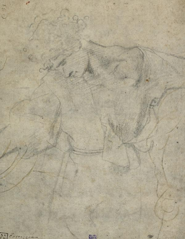 A Youth, Three-Quarter Length, with Inclined Head. Rough Outlines of a Horse's Leg and Hoof