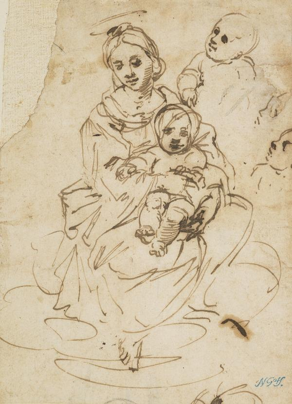 Madonna and Child, with Secondary Studies of the Child's Head