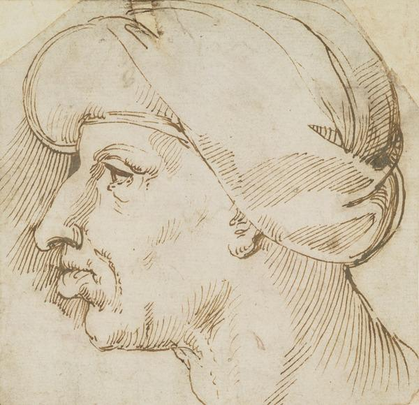 Caricature Profile of a Man Wearing a Turban