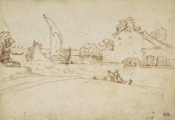 View of a River with Sailing Boats and Smaller Craft, with a House in the Right Background