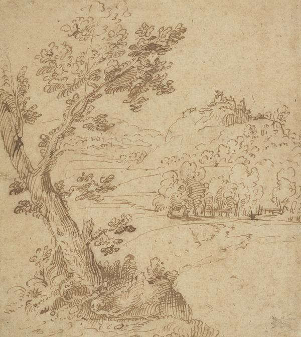 Landscape with Tree and a Castle on a Hill in the Background