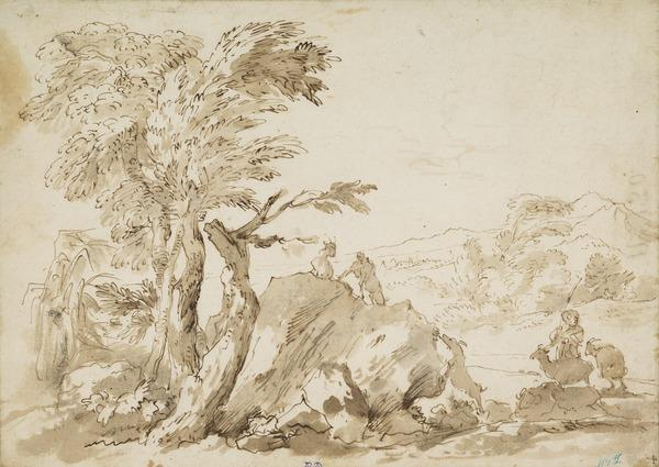 Landscape with Two Goatherds and Goats near a Rock
