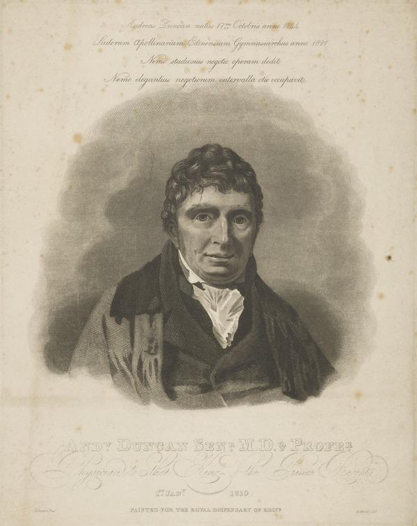 Andrew Duncan, 1744 - 1828. President of the Royal Medical Society and of the Royal College of Physicians (1819)