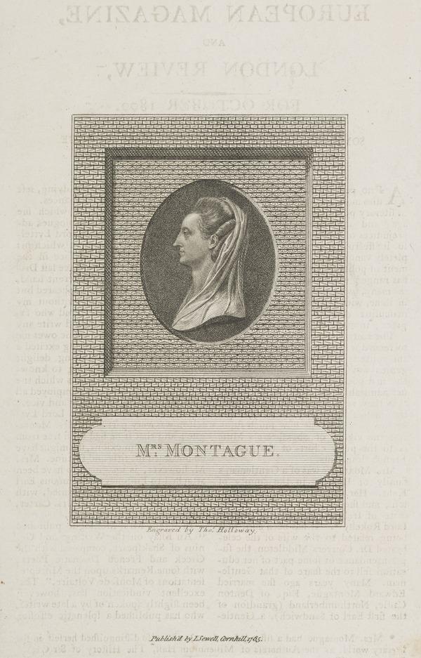 Elizabeth (Robinson) Montagu, 1720 - 1800. Writer and 'Blue-stocking'; wife of Edward Montagu (Published 1785)