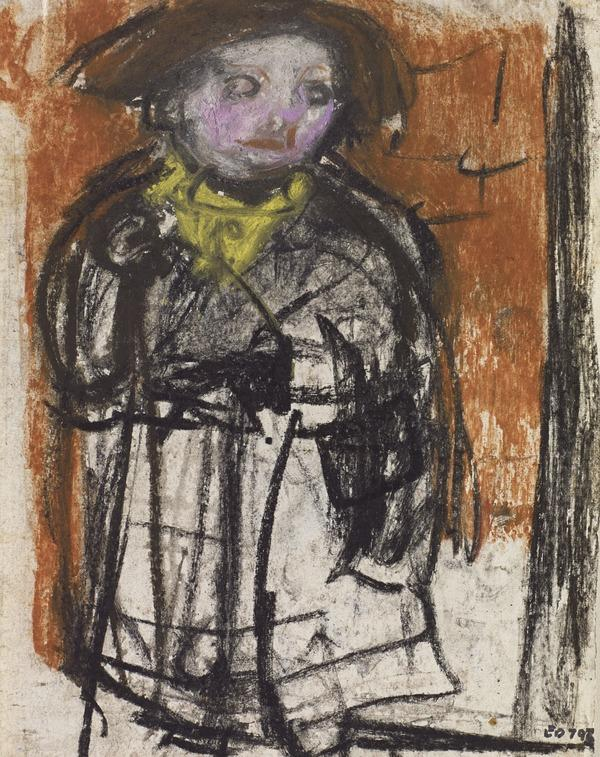 Girl in Front of a Tenement [verso: Sketches of Figures]