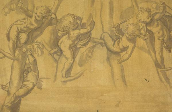 Five Putti Playing on the Branches of a Tree (1590s)