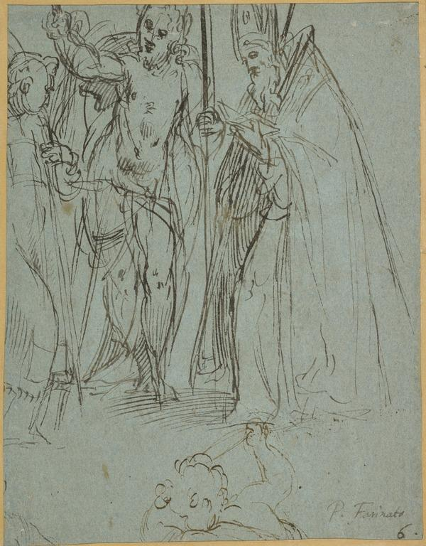 The Virgin and Child [Verso: The Baptism Between a Standing Bishop and a (?) Saint; Figure of a Putto Below] (1560 - 1580)