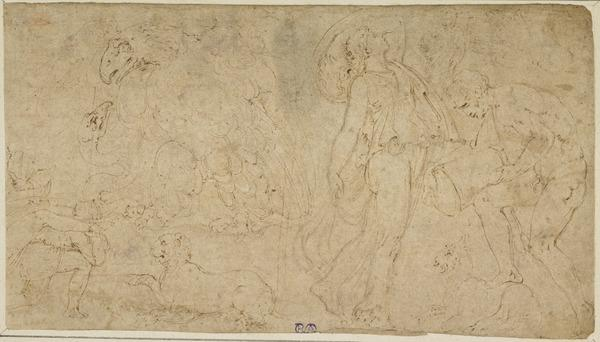 Sheet of Studies with Figures (after the Antique) and Animals, of which some are Symbols of the Evangelists. In the Extreme Left Corner: Part of...