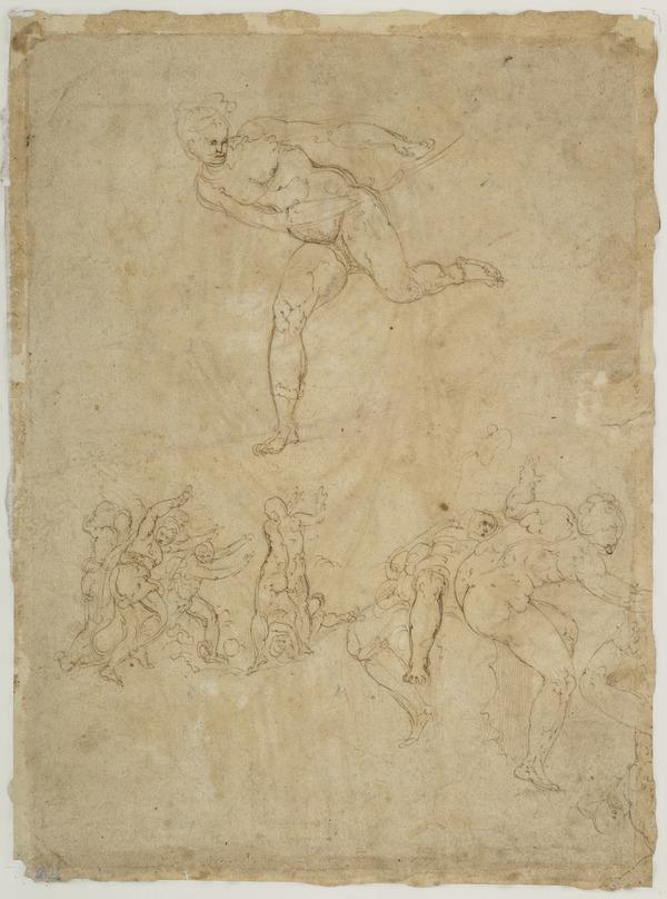 Drawing of a Roman Female Statue also Sketches of a Boy Running and Sprawling