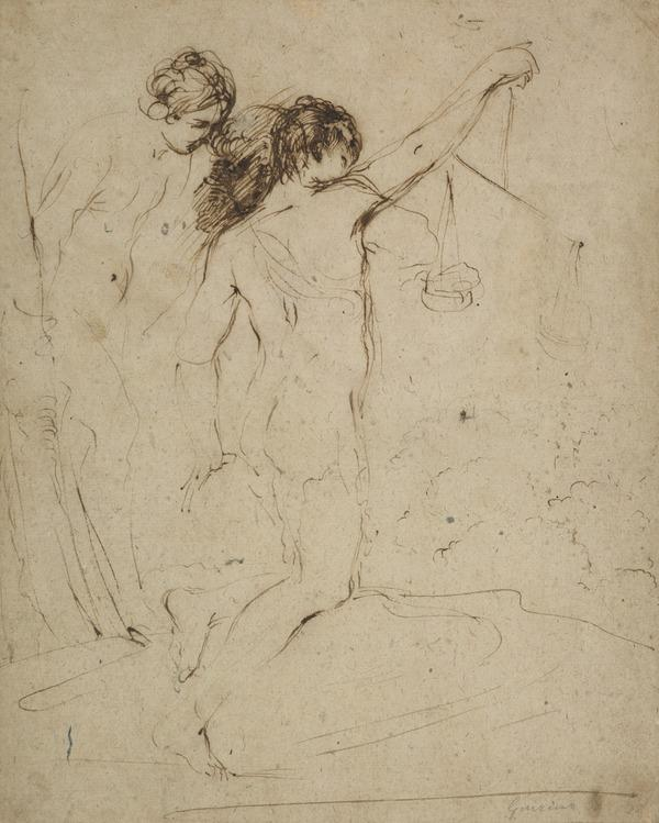 Study of Two Figures, One Holding a Pair of Scales