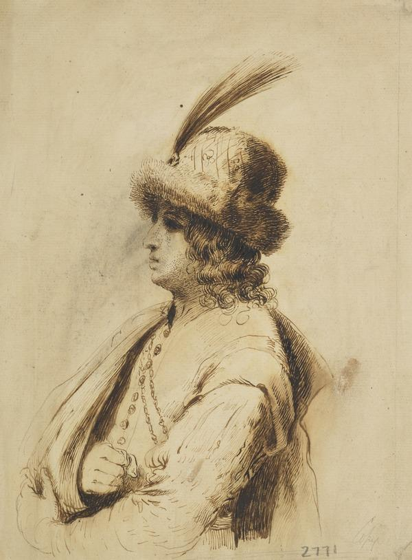 Man with Feathered, Fur Hat and Arm in a Sling
