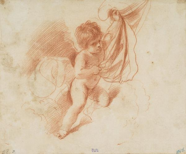 A Putto Holding Up a Curtain