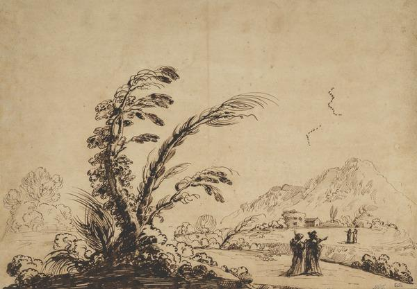Mountainous Landscape with Two Figures in the Foreground and Two Herdsmen in the Middle Distance