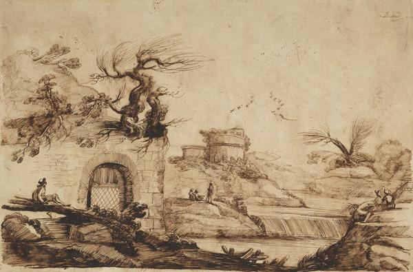River Landscape with Figures, near Ruins