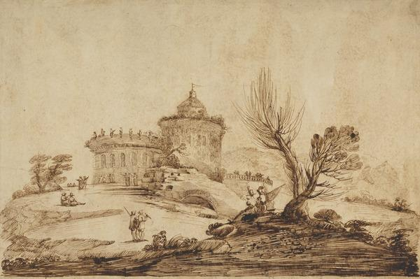 River Landscape with Figures near a Turreted Castle