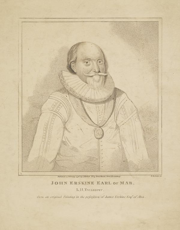 John Erskine, 2nd Earl of Mar, 1558 - 1634. Lord High Treasurer of Scotland (Published 1796)