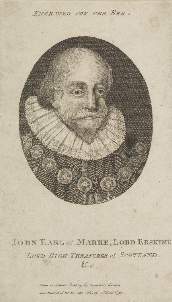 John Erskine, 2nd Earl of Mar, 1558 - 1634. Lord High Treasurer of Scotland (Published 1792)