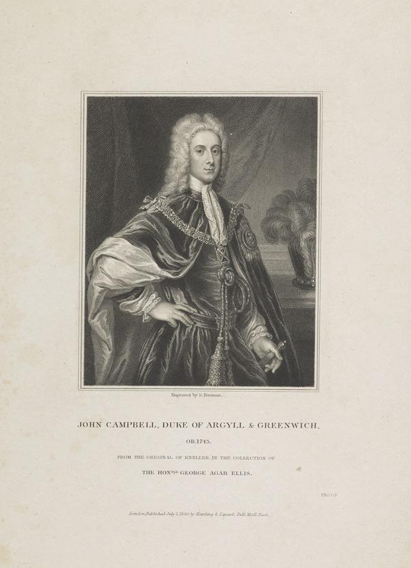 John Campbell, 2nd Duke of Argyll and Greenwich, 1678 - 1743. Soldier and statesman (Published 1830)