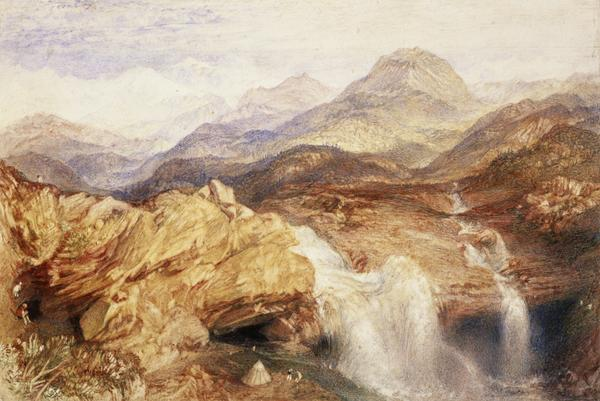 Falls near the Source of the Jumna in the Himalayas (About 1836)