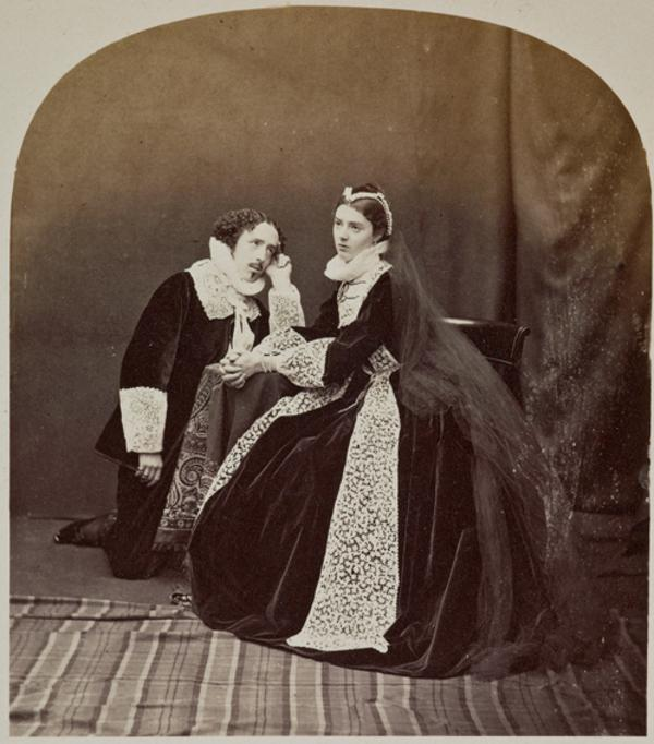 Mary Queen of Scots attended by Rizzio - tableau featuring the Hon. Lewis Wingfield and Miss G. Moncrieffe (27 August 1863)