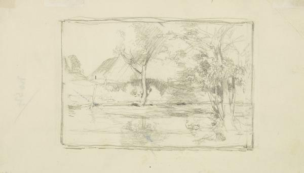 Landscape with Oak Trees, Lake and Cottage