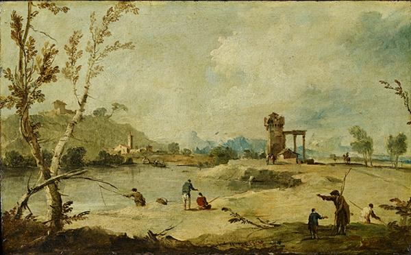 River Landscape with a Ruined Tower and a Distant Village (About 1770 - 1780)