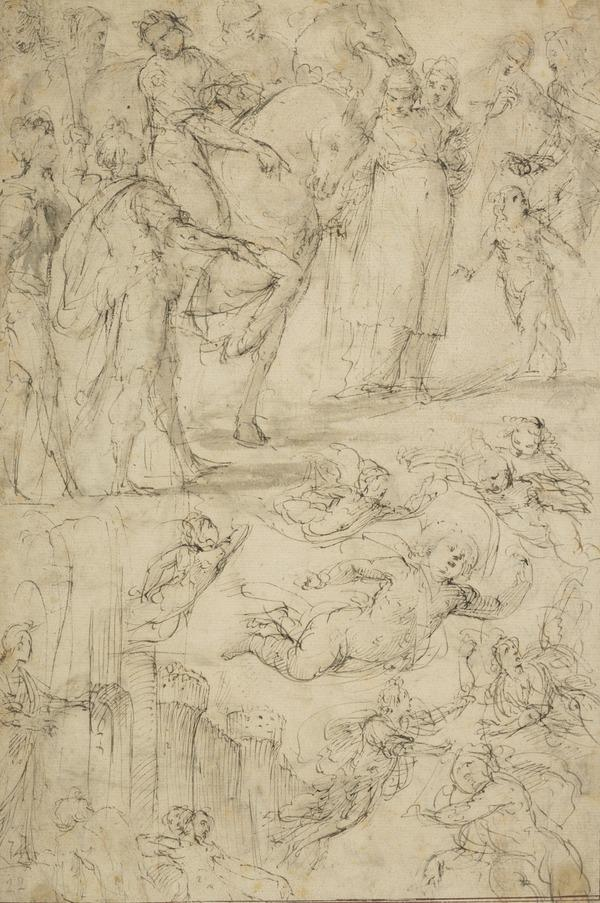 Studies of Roman Soldiers, Flying Putti, Fortifications, etc.