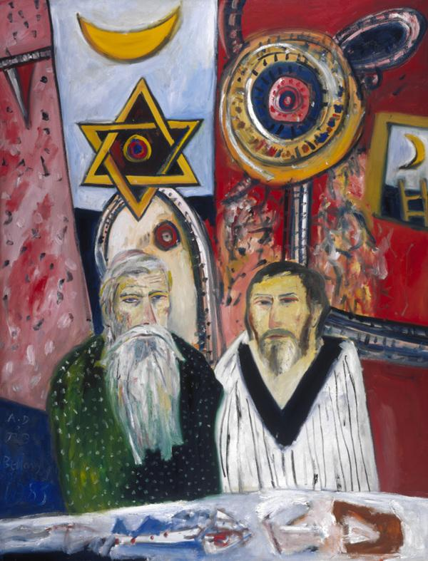John Bellany, b. 1942. Artist (Self-portrait) (with Alan Davie, b. 1920) (Dated 1983)