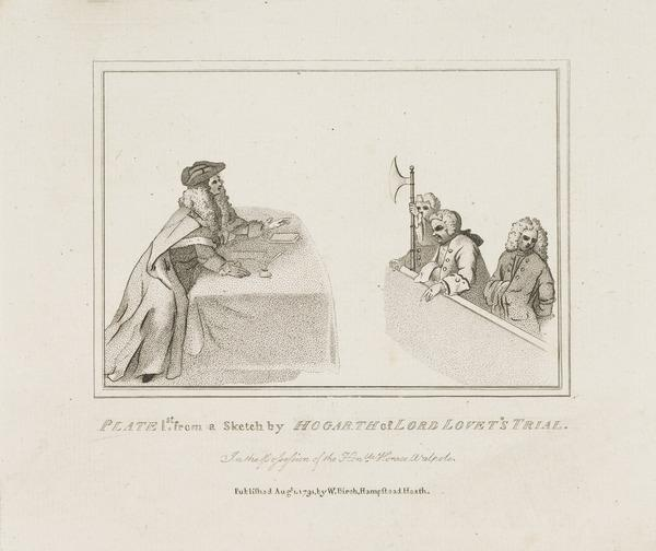 Simon Fraser, Lord Lovat, c 1667 - 1747. Jacobite (Sketch made at his trial) (Published 1791)