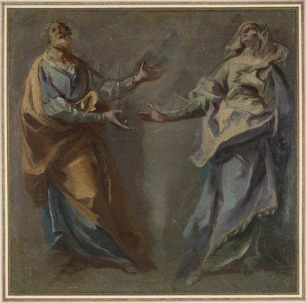 Study of Two Figures in Adoration. Possibly St Joseph and the Virgin Mary, or Sts Joachim and Anna (perhaps 1750s)