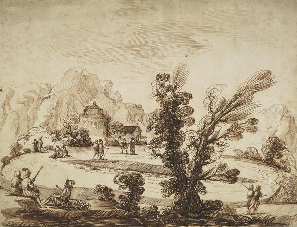 Park-Like Landscape with Walking and Seated Figures