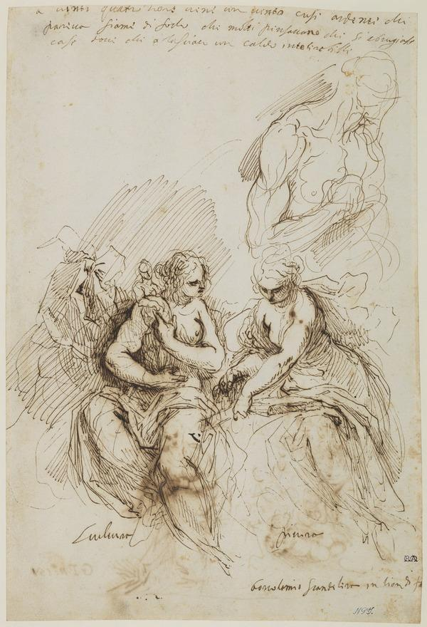 Two Allegorical Figures of Painting and Sculpture and a Sketch of St Jerome