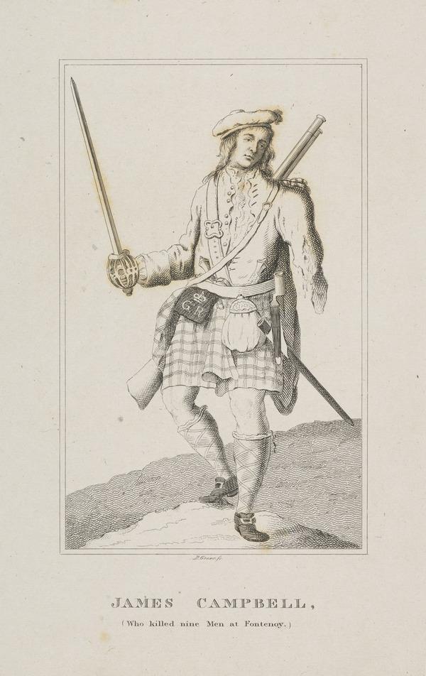 James Campbell. Highlander in the Black Watch, who killed nine men at Fontenoy 1745