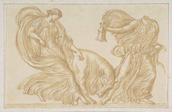 Two Women in Billowing Robes and a Bull: Study after the so-called 'Nike Balustrade' (About 1635)