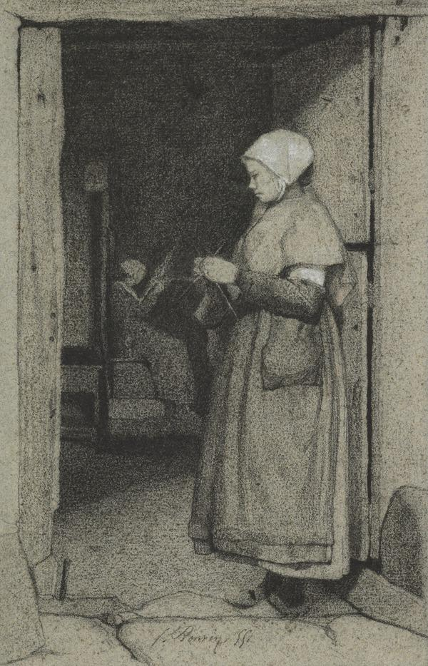 A Woman at the Door, Knitting (Dated 1855)