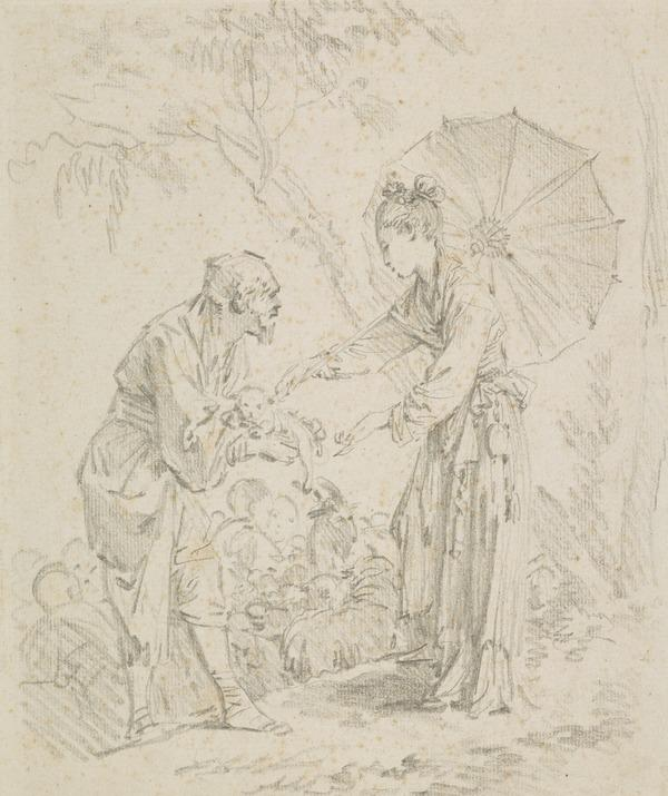 Chinese Subject. An Old Man Presenting a Dog to a Young Lady with a Parasol