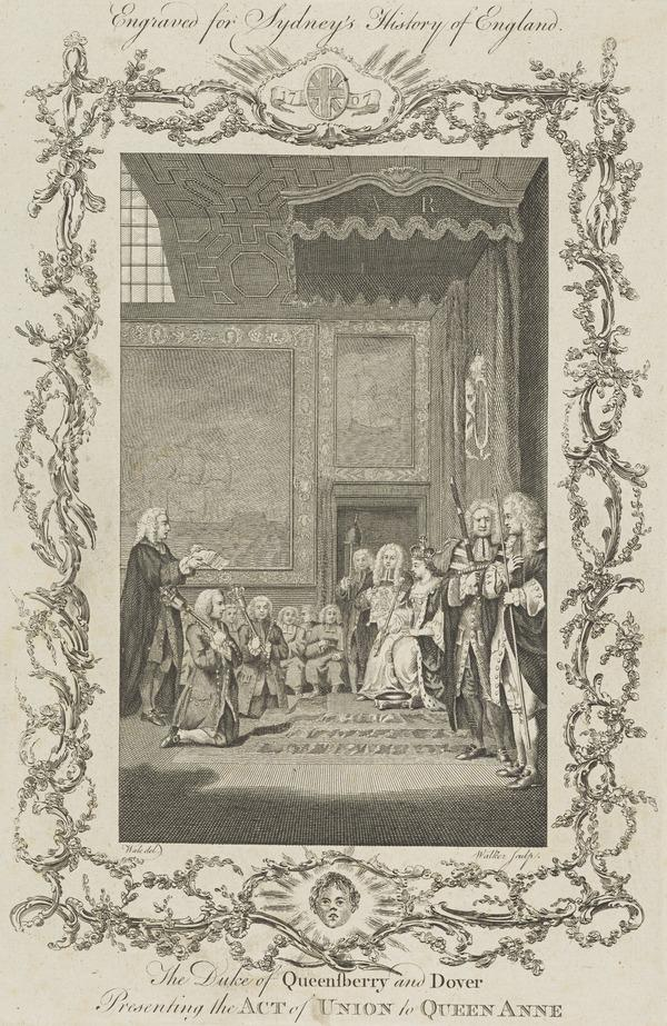 James Douglas, 2nd Duke of Queensberry and 1st Duke of Dover (1662 - 1711), presenting the Act of Union to Queen Anne