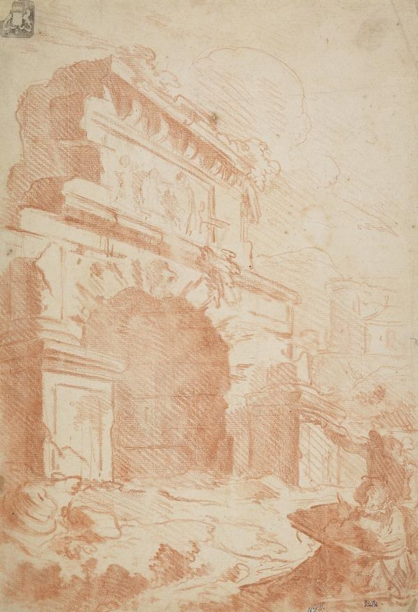 An Artist Drawing an Archway (counterproof)