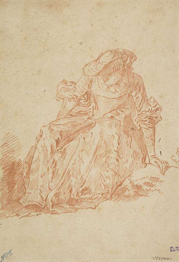 Reproduction of a Lady Stooping after Watteau