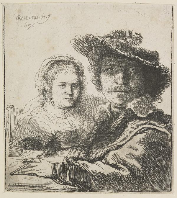 Self Portrait with Saskia (NHD 158 II) (Dated 1636)
