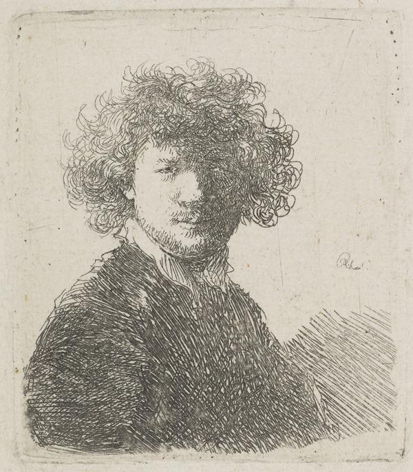 Self Portrait with Curly Hair and White Collar: Bust (Bartsch no. 1 II/2) (About 1630)