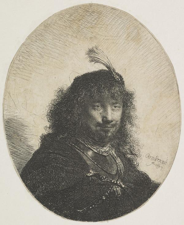 Self Portrait (?) with Plumed Cap and Lowered Sabre (Bartsch no. 23 III/3) (Dated 1634)