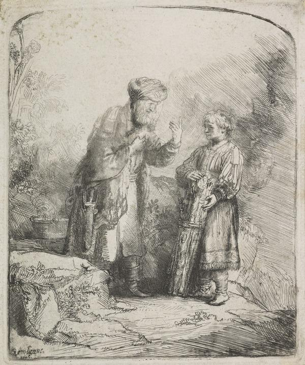 Abraham and Isaac (Bartsch no. 34. Only State) (Dated 1645)