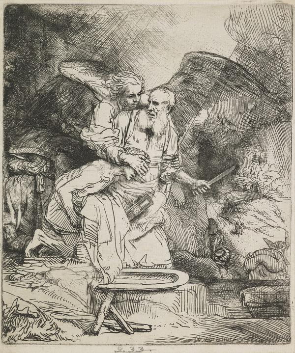 Abraham's Sacrifice (Bartsch no. 35. Only State) (Dated 1655 (the 6 reversed))