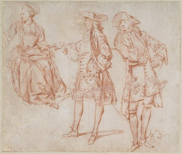 Studies of two Gentlemen standing and a Lady seated recto (Studies of Footsoldiers, a Drummer and two Cavaliers verso) (About 1710)
