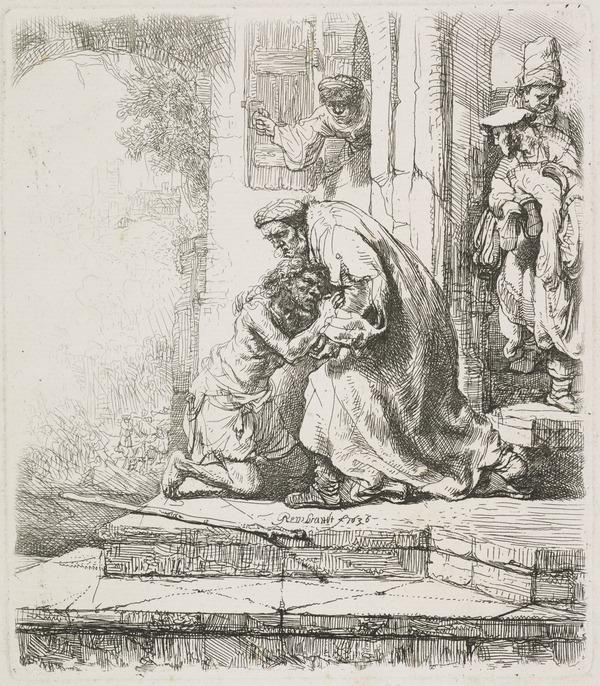 The Return of the Prodigal Son (Bartsch no. 91. Only State) (Dated 1636)