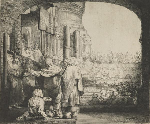 Peter and John Healing the Cripple at the Gate of the Temple (Bartsch no. 94 II/4) (Dated 1659)