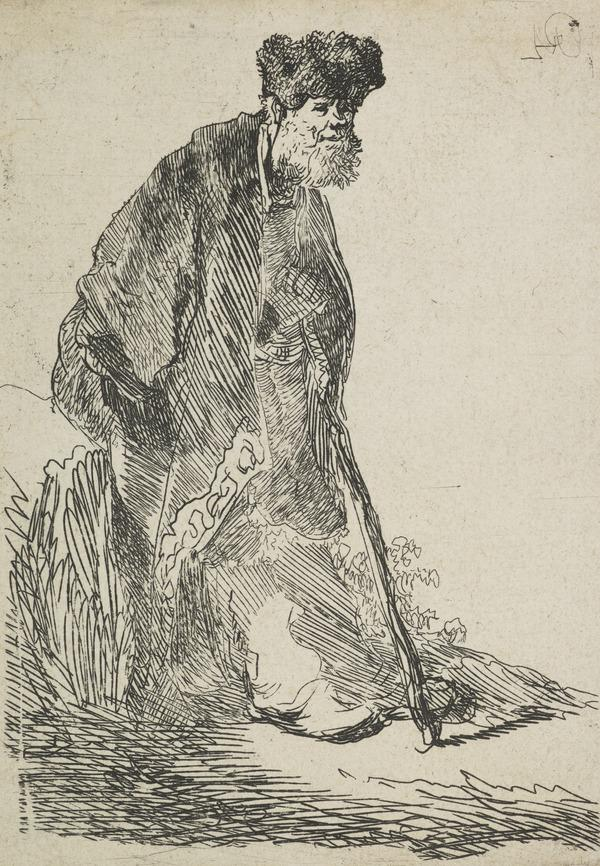 Man in a Coat and Fur Cap, Leaning against a Bank (Bartsch no. 151 I/3) (About 1630)